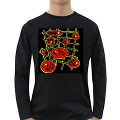 Red And Yellow Hot Design Long Sleeve Dark T Shirts by Valentinaart