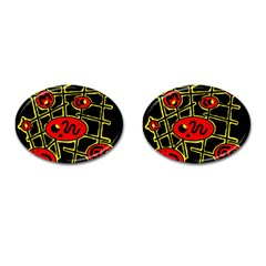 Red And Yellow Hot Design Cufflinks (oval) by Valentinaart