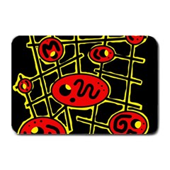 Red And Yellow Hot Design Plate Mats by Valentinaart