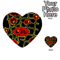 Red And Yellow Hot Design Multi Purpose Cards (heart)  by Valentinaart
