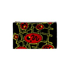 Red And Yellow Hot Design Cosmetic Bag (small)  by Valentinaart