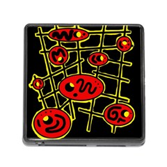 Red And Yellow Hot Design Memory Card Reader (square) by Valentinaart
