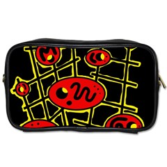 Red And Yellow Hot Design Toiletries Bags by Valentinaart