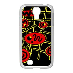 Red And Yellow Hot Design Samsung Galaxy S4 I9500/ I9505 Case (white) by Valentinaart