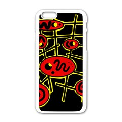 Red And Yellow Hot Design Apple Iphone 6/6s White Enamel Case by Valentinaart