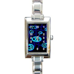 Blue Decorative Design Rectangle Italian Charm Watch by Valentinaart