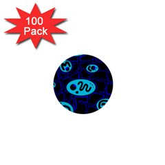 Blue Decorative Design 1  Mini Buttons (100 Pack)  by Valentinaart