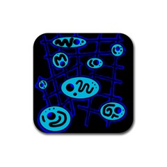 Blue Decorative Design Rubber Square Coaster (4 Pack)  by Valentinaart