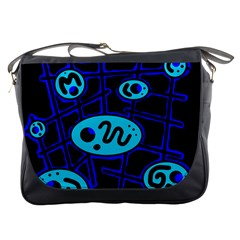 Blue Decorative Design Messenger Bags by Valentinaart