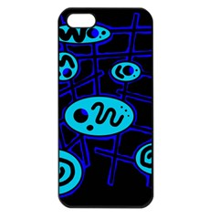 Blue Decorative Design Apple Iphone 5 Seamless Case (black) by Valentinaart