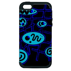 Blue Decorative Design Apple Iphone 5 Hardshell Case (pc+silicone) by Valentinaart