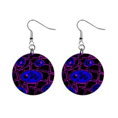 Blue And Magenta Abstraction Mini Button Earrings by Valentinaart