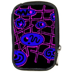 Blue And Magenta Abstraction Compact Camera Cases by Valentinaart