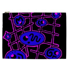 Blue And Magenta Abstraction Cosmetic Bag (xxl)  by Valentinaart