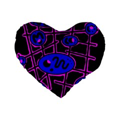 Blue And Magenta Abstraction Standard 16  Premium Heart Shape Cushions