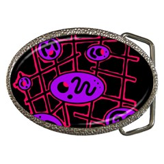 Purple And Red Abstraction Belt Buckles by Valentinaart