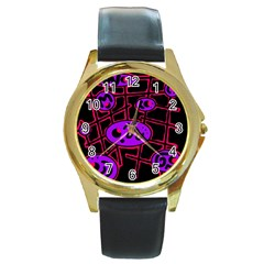 Purple And Red Abstraction Round Gold Metal Watch by Valentinaart