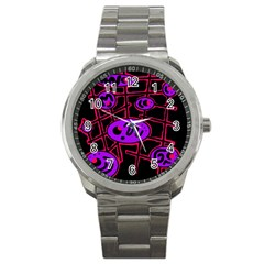 Purple And Red Abstraction Sport Metal Watch by Valentinaart