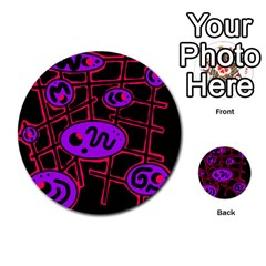 Purple And Red Abstraction Multi Purpose Cards (round)  by Valentinaart