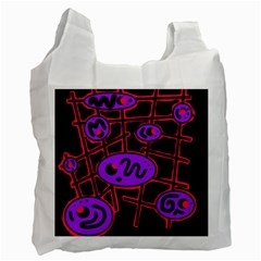 Purple And Red Abstraction Recycle Bag (one Side) by Valentinaart