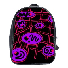 Purple And Red Abstraction School Bags(large)  by Valentinaart