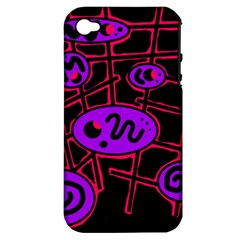 Purple And Red Abstraction Apple Iphone 4/4s Hardshell Case (pc+silicone) by Valentinaart