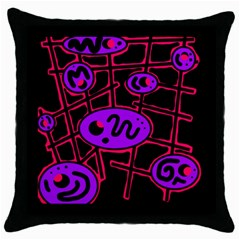 Purple And Red Abstraction Throw Pillow Case (black) by Valentinaart