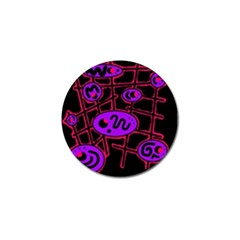 Purple And Red Abstraction Golf Ball Marker by Valentinaart
