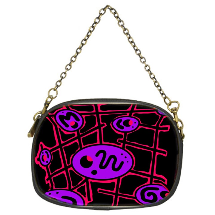 Purple and red abstraction Chain Purses (One Side)