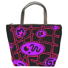 Purple And Red Abstraction Bucket Bags by Valentinaart