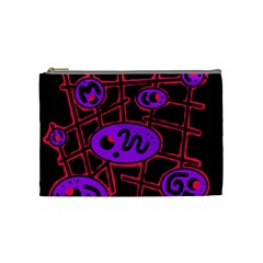 Purple And Red Abstraction Cosmetic Bag (medium)  by Valentinaart