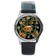 Orange And Green Abstraction Round Metal Watch by Valentinaart