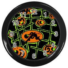 Orange And Green Abstraction Wall Clocks (black) by Valentinaart
