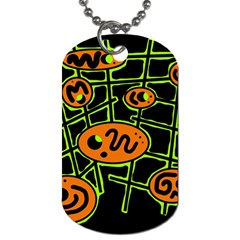 Orange And Green Abstraction Dog Tag (one Side) by Valentinaart