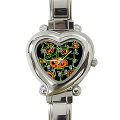 Orange And Green Abstraction Heart Italian Charm Watch by Valentinaart