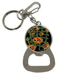 Orange And Green Abstraction Bottle Opener Key Chains by Valentinaart