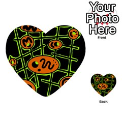 Orange And Green Abstraction Multi Purpose Cards (heart)  by Valentinaart