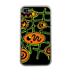 Orange And Green Abstraction Apple Iphone 4 Case (clear)