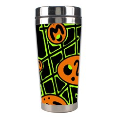 Orange And Green Abstraction Stainless Steel Travel Tumblers