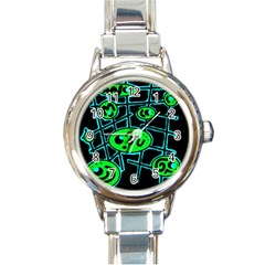 Green And Blue Abstraction Round Italian Charm Watch by Valentinaart