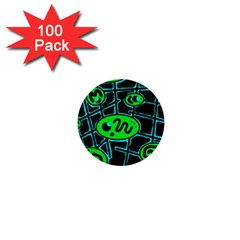 Green And Blue Abstraction 1  Mini Buttons (100 Pack)  by Valentinaart