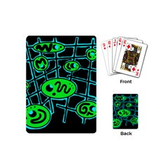 Green And Blue Abstraction Playing Cards (mini)  by Valentinaart