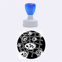 Green And Blue Abstraction Rubber Round Stamps (medium)