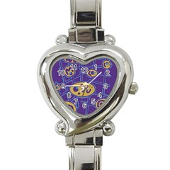 Purple And Yellow Abstraction Heart Italian Charm Watch by Valentinaart