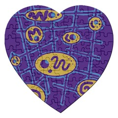 Purple And Yellow Abstraction Jigsaw Puzzle (heart) by Valentinaart