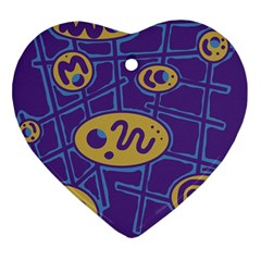 Purple And Yellow Abstraction Heart Ornament (2 Sides) by Valentinaart