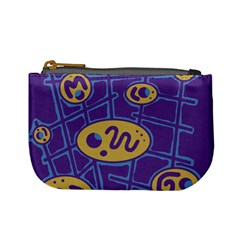 Purple And Yellow Abstraction Mini Coin Purses by Valentinaart
