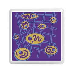 Purple And Yellow Abstraction Memory Card Reader (square)  by Valentinaart