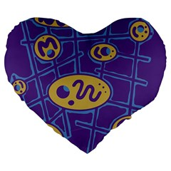 Purple And Yellow Abstraction Large 19  Premium Heart Shape Cushions