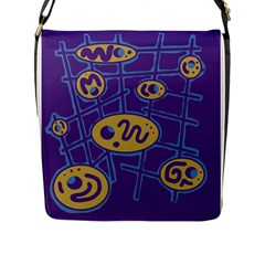 Purple And Yellow Abstraction Flap Messenger Bag (l)  by Valentinaart